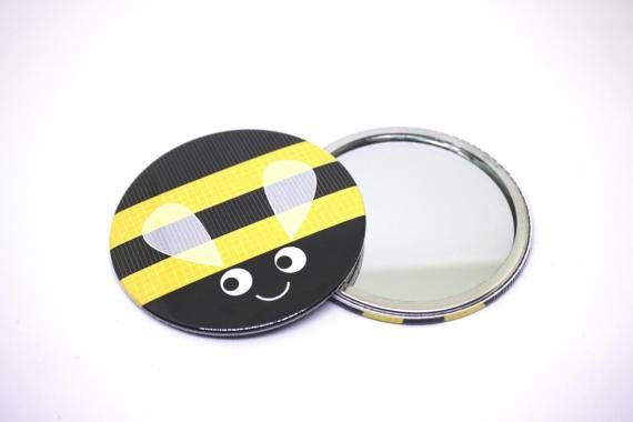 Bumble bee pocket mirrormake up bag by Jollygoodcreations on Etsy