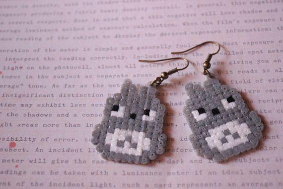 Boucle d'oreille Totoro perle hama