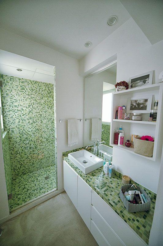 abitazione privata a roma casa lm bagno bianco e verde mobile sottolavabo realizzato