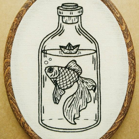 Goldfish in a Bottle with Paper Boat Hand Embroidery por ALIFERA