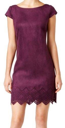 Vince Camuto Purple Women's Size 6 Laser Cut Zig Zag Shift Dress