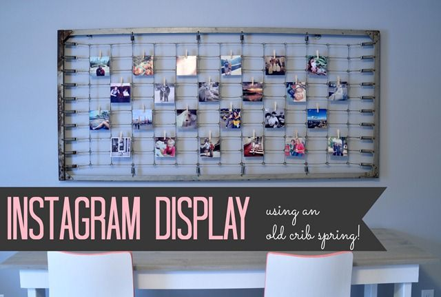 Instagram Photo Display Using an Old Crib Spring. Great way to display those darling Instagram photos and re-purpose an old item!