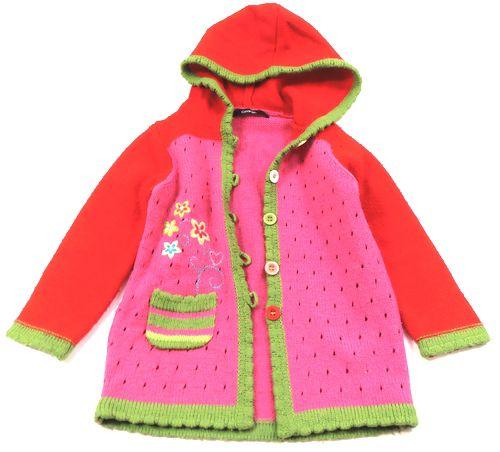 BRUMLA.CZ – Značkový dětský a dospělý second hand a outlet, použité oděvy pro děti a dospělé - Červeno-zeleno-růžový propínací svetr s kytičkami zn. George