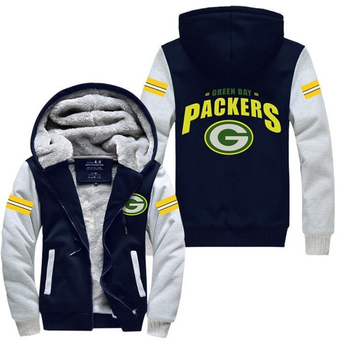 USA size Men Women Football Green Bay Packers Zipper Jacket Thicken Hoodie Coat Clothing Casual