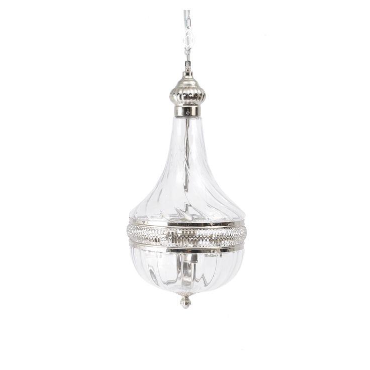 Glass Teardrop Chandelier Nickel Finish Medium | ACHICA