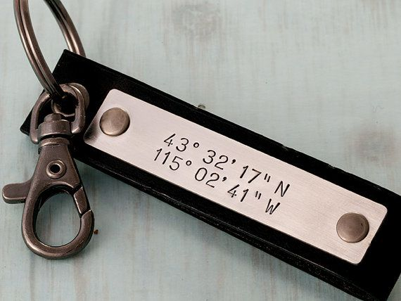 cute long distance relationship gift. Leather Latitude Key Chain by GunmetalGems, $25.00