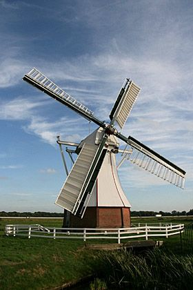 Polder mill De Witte Molen, Glimmen, the Netherlands