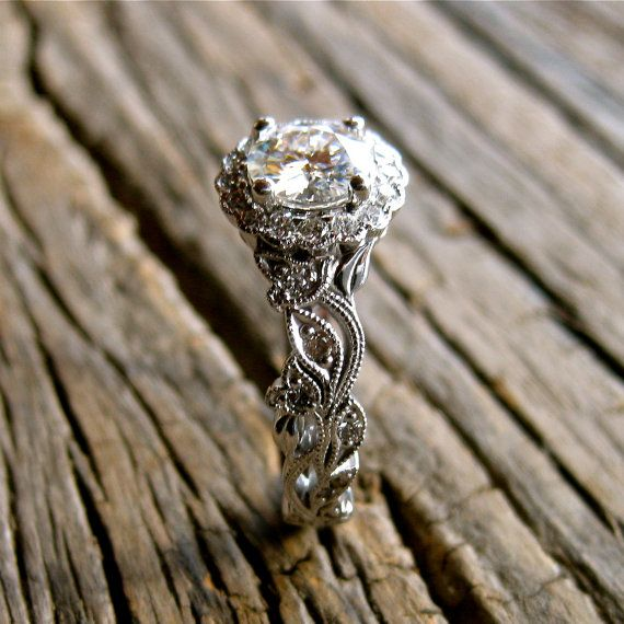 Moissanite & Diamond Engagement Ring in 14K White Gold with Flower Buds and Leafs on Vine Motif Size 7.5