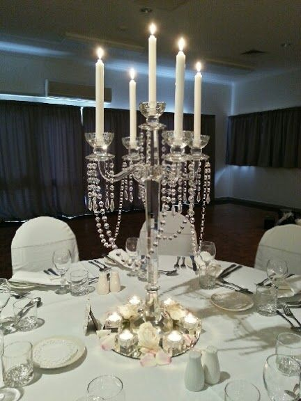 Elegant wedding table centrepieces, candle holder with hanging crystals - Tamar Valley Resort