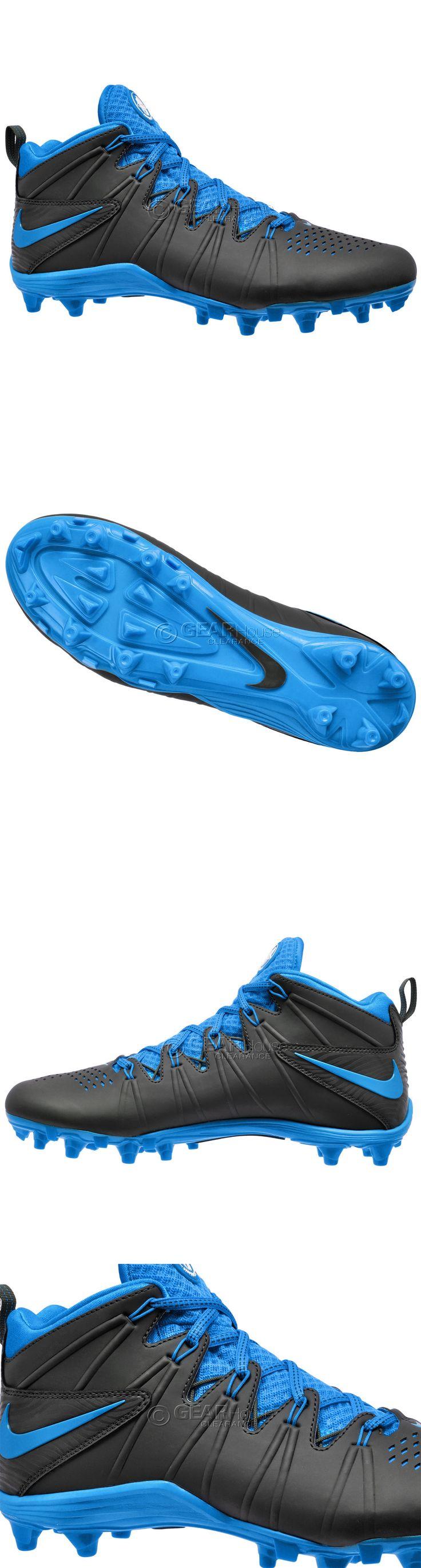 Footwear 159154: New Nike Huarache 4 Iv Lax Mid Mens Lacrosse Cleats Football Lx : Black Blue -> BUY IT NOW ONLY: $35.8 on eBay!