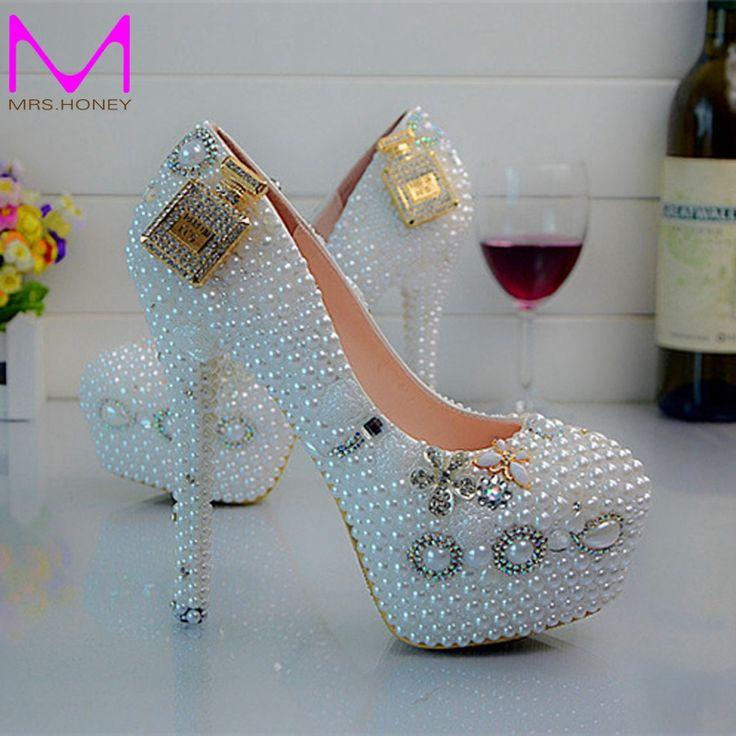 Designer Hochzeit Schuhe 4 Zoll Ferse Schnee Weiß Brautkleid Schuhe runde Kappe Plattform Pumpen Sexy Beleg Auf Prom Schuhe EUR 34-45 //Price: $US $63.19 & FREE Shipping //     #abendkleider