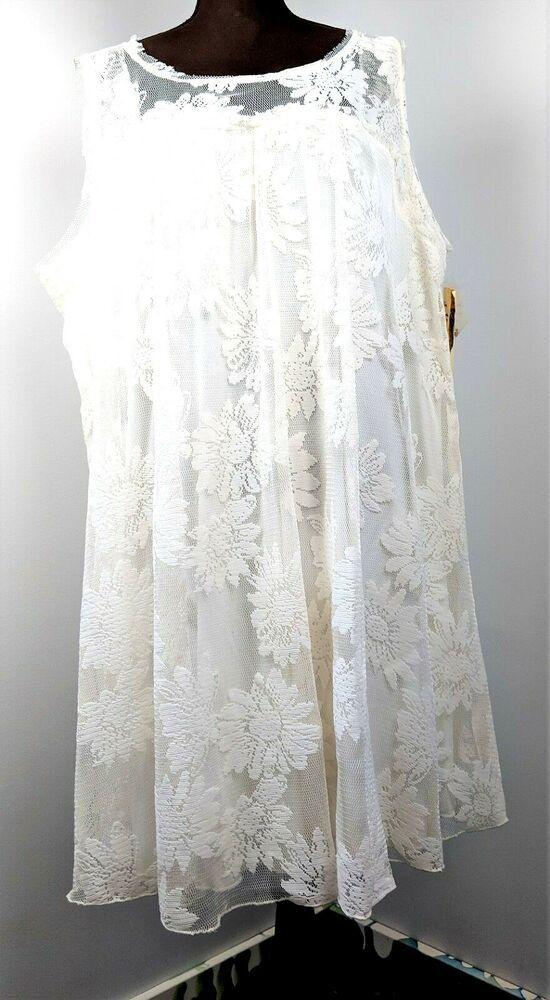 One World White Lace Sleeveless Dress Womans Plus Size 3X ...