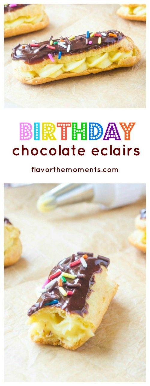 birthday-chocolate-eclairs-collage | flavorthemoments.com
