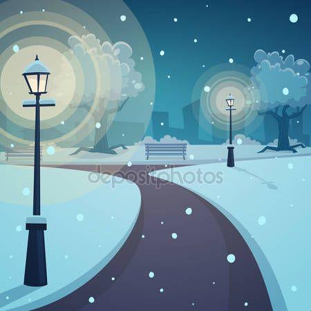 Noc zima w parku — Ilustracja stockowa #59800735