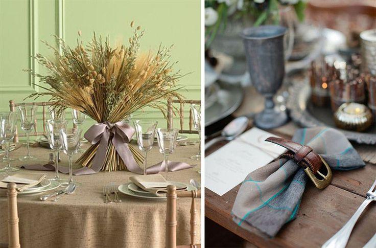 Сервировка стола колосья и сухие травы