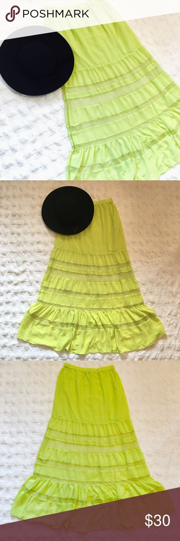 Asos Sheer Neon Yellow Maxi Skirt Asos Sheer Neon Yellow Maxi Skirt. Size 8. Sheer horizontal bands. New without tags. ASOS Skirts Maxi