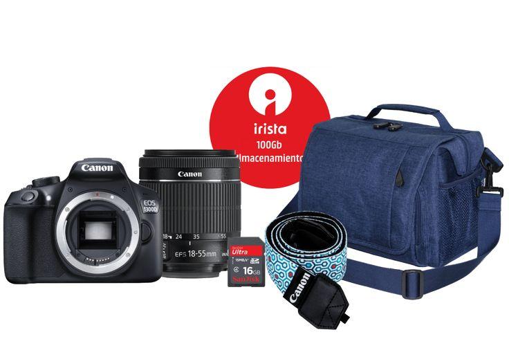Canon EOS 1300D + EF-S 18-55 DC, + Mochila + Correa + Tarjeta SD 16GB