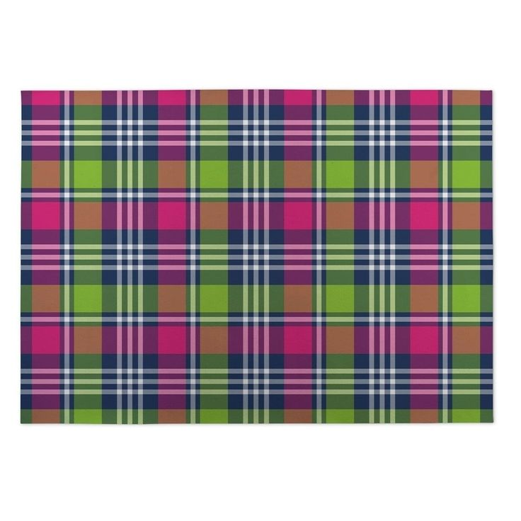 Kavka Designs Love Potion Pink/Green/Blue Plaid Indoor/Outdoor Floor Mat (5' x 7') (Pink - Novelty - Plaid), Size 5' x 7'
