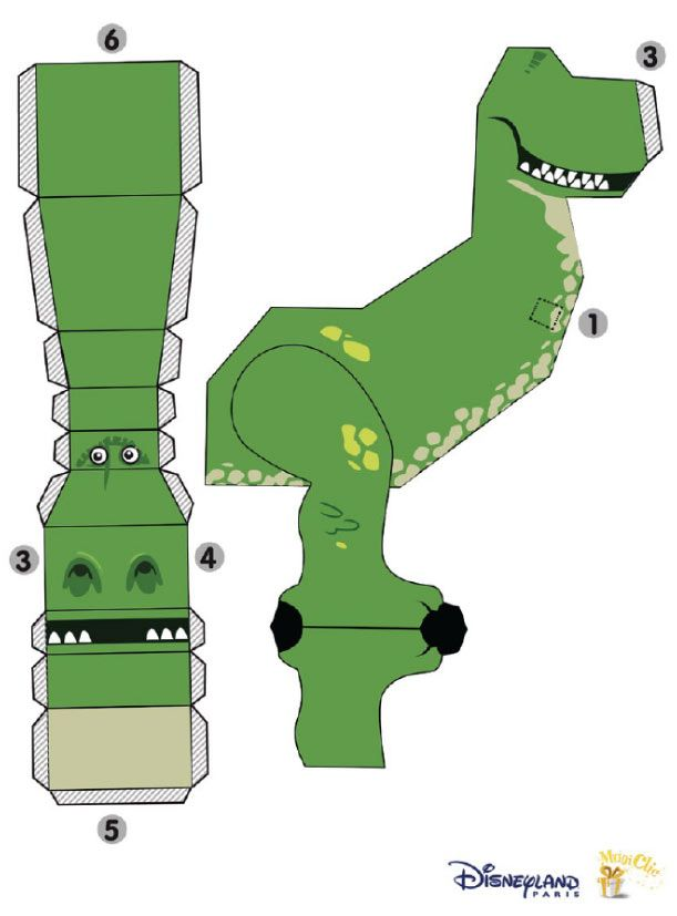 Blog Paper Toy papertoy Rex Disney template preview Papertoy REX de Disney