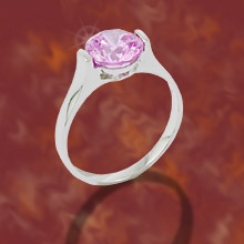 """""""Moonlight & Lilac""""  $69.99 CAD - Simplicity and elegance, this ring features a beautiful lilac triple A cubic zirconia solitare set in a band finished in rich rhodium. Nickel and lead free. Size 7."""