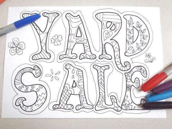 yard sale sign adult coloring garage sale moving sale board doodle doodling zen download colouring decor printable digital lasoffittadiste