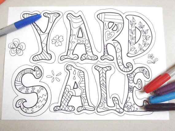 yard sale sign adult coloring garage sale moving sale board doodle doodling zen download colouring decor printable digital lasoffittadiste