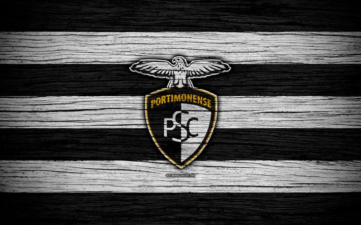 Download wallpapers Portimonense, 4k, Portugal, Primeira Liga, soccer, wooden texture, Portimonense FC, football club, logo, FC Portimonense