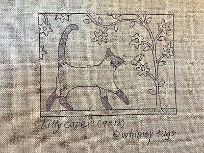 Whimsy Rugs Rug Hooking Pattern - Kitty Caper - Scottish Linen - 9 x 12
