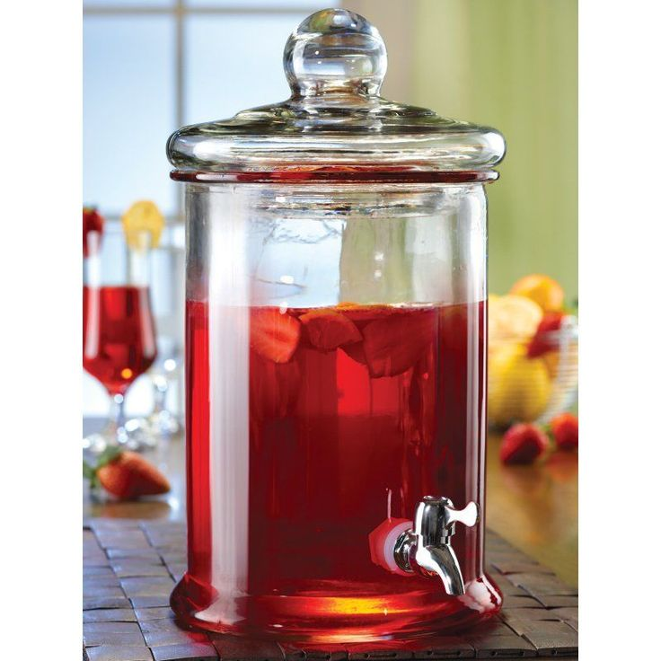 Style Setter 1.3 gal. Norfolk Glass Beverage Dispenser - 210987-GB