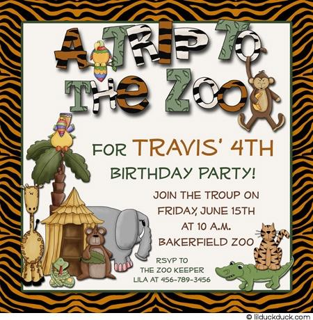 zoo birthday party | Tiger Stripes Zoo Party Invitation - Animal Wording