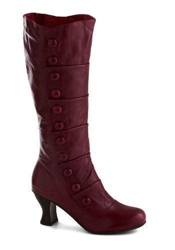 Button Up-town Boot in Red by Miz Mooz - Mid, Leather, Red, Buttons, Pleats, French / Victorian, Steampunk, Best, Solid, Variation