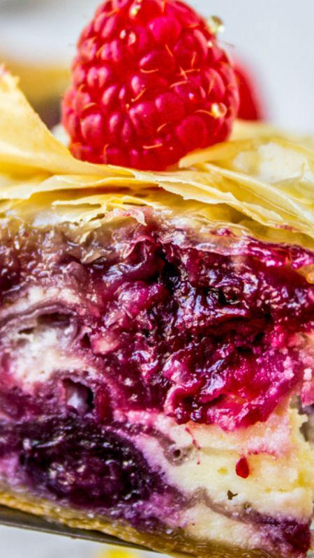 Berry Cheesecake Baklava ~ A fun spin on the traditional version–the perfect make-ahead summer dessert! If you are not into nuts then this is the baklava for you.