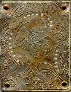 More Alcohol Inks on Aluminum Foil by EnjoyTheJourney Acanthus Folder - Cards and Paper Crafts at Splitcoaststampers