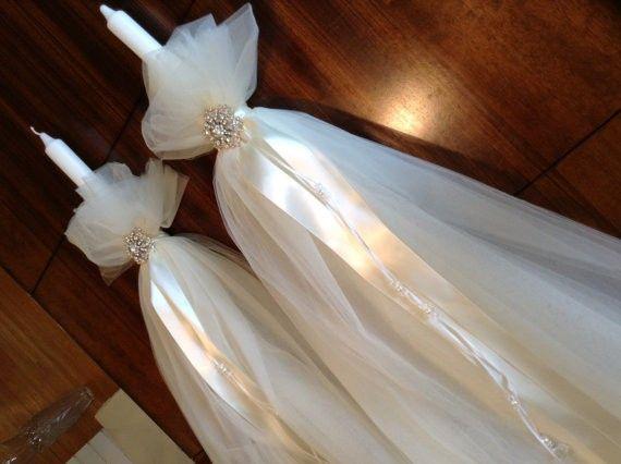 Swarovski Brooch Wedding Candles, $270.00 at the Greek Wedding Shop ~ http://www.greekweddingshop.com/