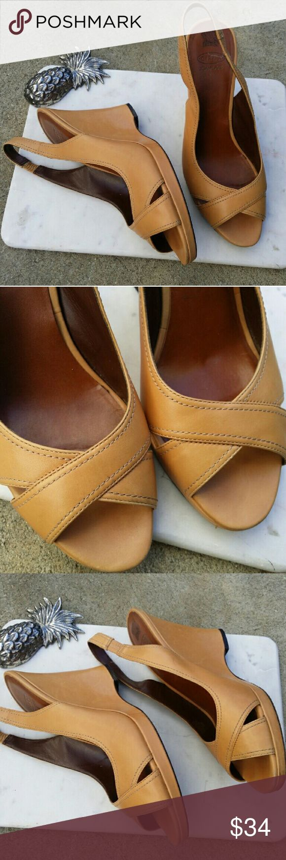 Circa Joan & David CJ LISSETTE Brown Leather Wedge Circa Joan & David CJ LISSETTE Brown Leather Wedge Heels Shoes sz 10 EUC LOVELY   Very small flaws.   Please see pictures for details Joan & David Shoes Wedges