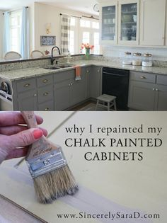 I spent last week repainting all the lower cabinets in our kitchen. A little over two years ago, I painted them with chalk paint. Here's what they looked like before: And here's how the cabinets looked when we first moved into our home (sorry it's not the same angle): The chalk paint itself has …