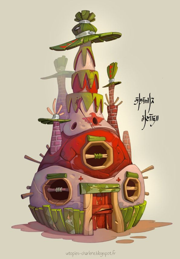 Piñata house, Charlène Le Scanff (AKA Catell-Ruz) on ArtStation at https://www.artstation.com/artwork/pinata-house