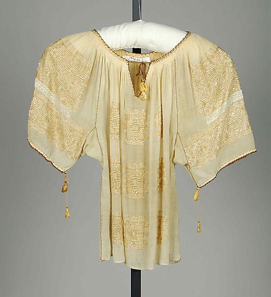 Blouse Date: ca. 1920 Culture: Romanian Medium: Cotton, silk