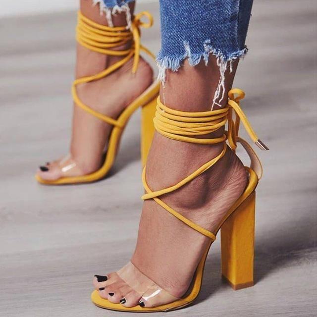 Women's Ankle Wrap Transparent Pump Heels