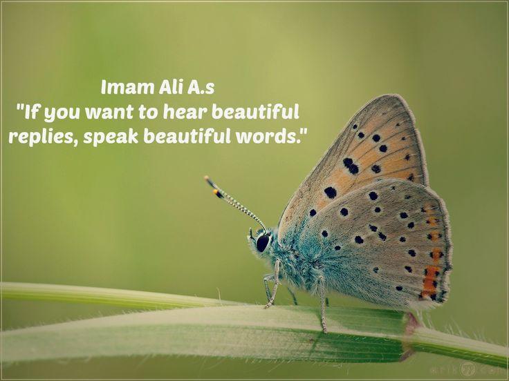 If you want to hear beautiful replies, speak beautiful words. - Imam Ali