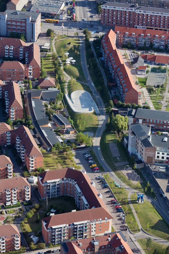 Copenhagen, Denmark Urban Revitalization Superkilen TOPOTEK 1, BIG - Bjarke Ingels Group, Superflex
