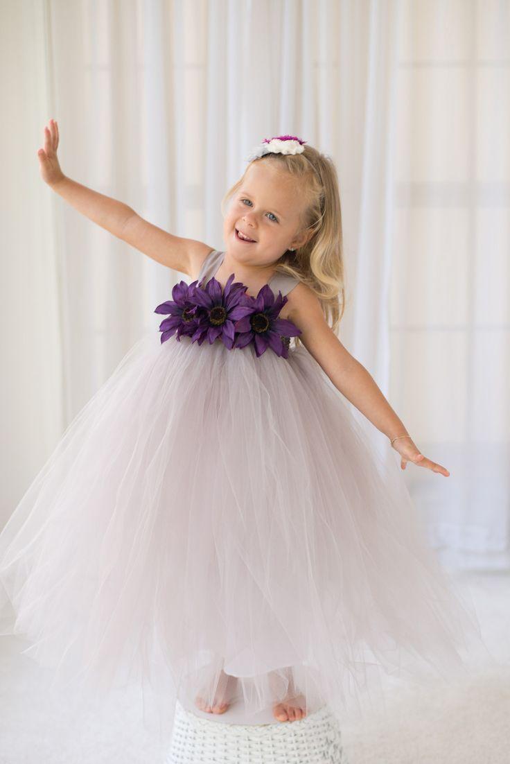 Gray Wedding - Flower Girl Tutu Dress with Flower Trim