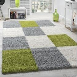 Shaggy Teppiche Teppich grün, Teppich grau und Hochflor