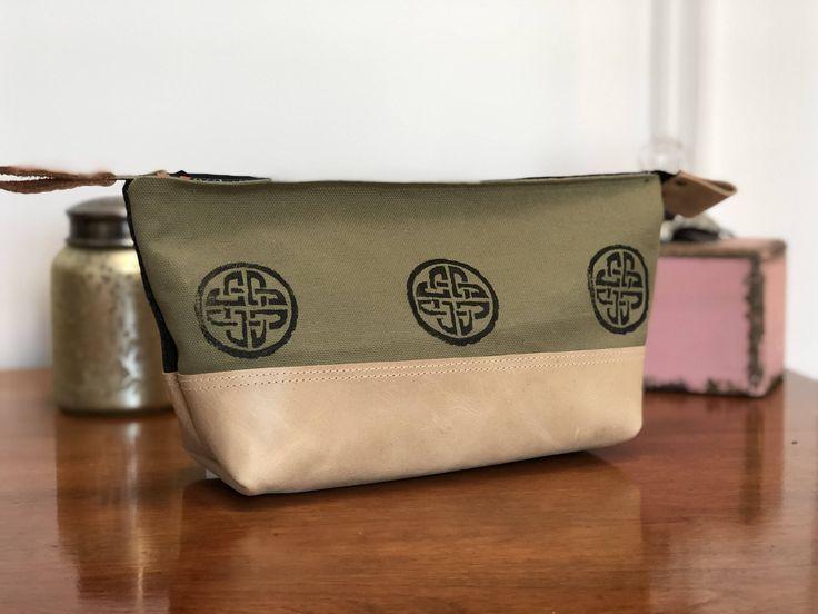 Canvas Bag/ Tweed Bag/Pouch/Make up bag/Art bag/Pencil case - Celtic knot bag, Scottish tweed bag, Leather accents, Block stamp, Celtic bag