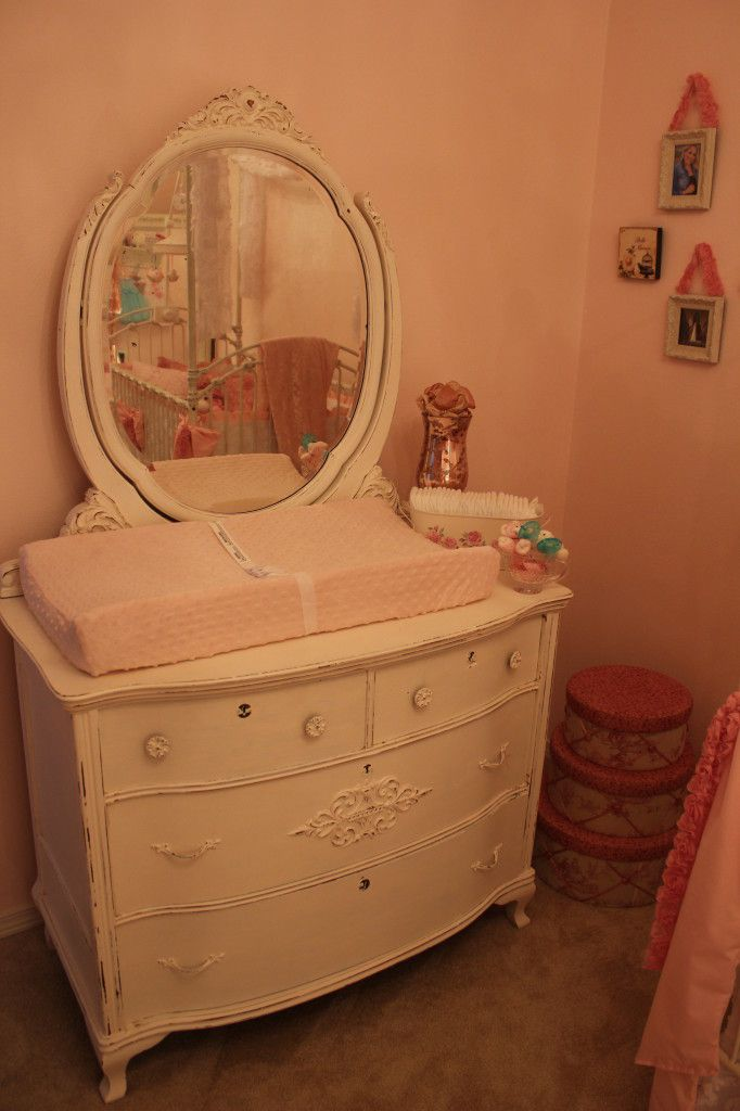 Shabby Chic Dresser + Mirror turned changing table. LOVE! #shabbychic #nurseryShabbychic Nurseries