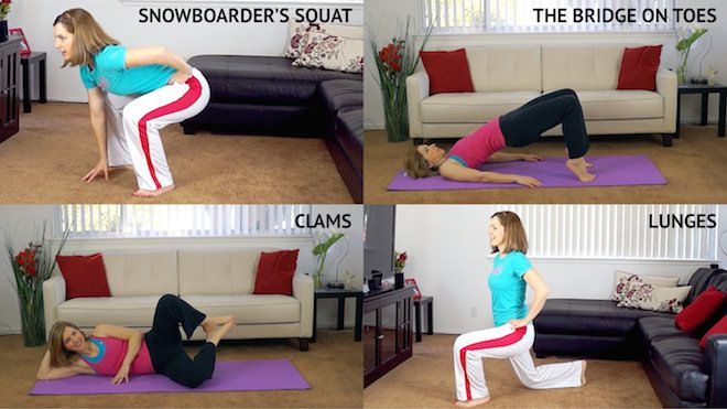 """10 best exercises for lean legs and butt.  Especially check out the """"lazy suite"""" of leg exercises that you can do while watching TV!"""