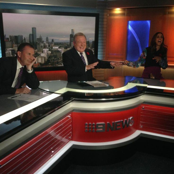 Nine News Melbourne team sharing some jazz hands