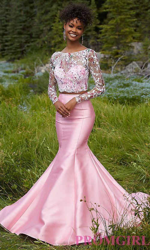 Mori Lee Long Sleeve Two Piece Prom Dress