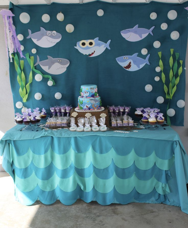 Adorable Baby Shark Party Backdrop That You Can Diy With Construction Paper And Streamers Su Birthday Parties Shark Theme Birthday Shark Themed Birthday Party