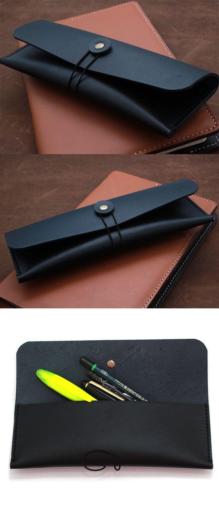 Hand-stitched leather pencil case/ multi-pouch in Vegetable Tanned BLACK. Glasses case, pencil case, make-up gear case, estuche de anteojos, Brillenetui, Brilleglass, trousse, Mäppchen, Briller tilflde, penalhus